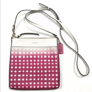 Coach pink white geo square leather crossbody bag